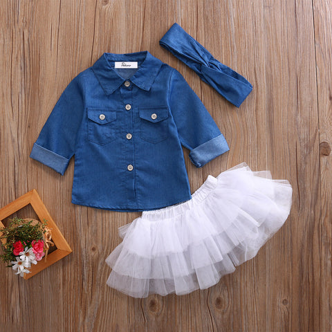 Image of Denim Shirt Top and Tutu