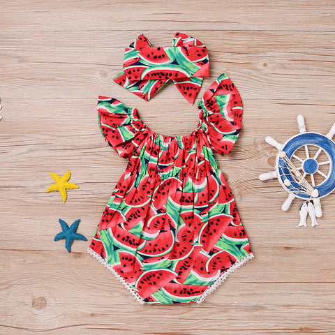 Watermelon Print Sleeveless Romper