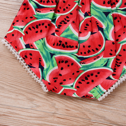 Image of Watermelon Print Sleeveless Romper