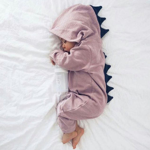 Image of Hooded Dinosaur Baby Jumpsuit