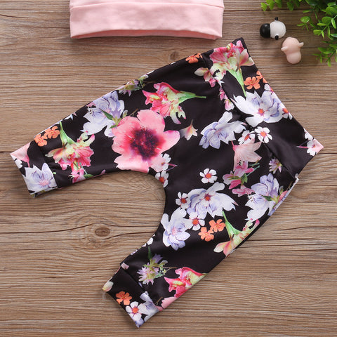 Image of Floral Lined Hoodie Top & Pants Set