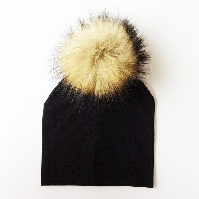 Cotton Beanie with Faux Raccoon Pompom