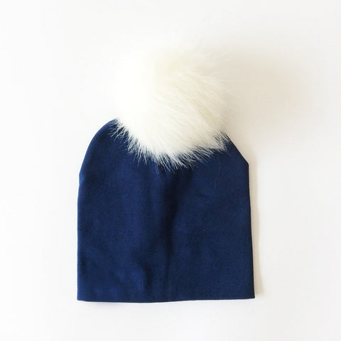 Image of Cotton Beanie with Faux Raccoon Pompom