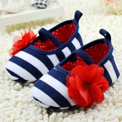 White & Blue Soft Bottom Baby Shoes