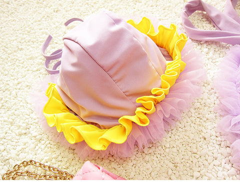 Girls Lace Swimsuit with Cap