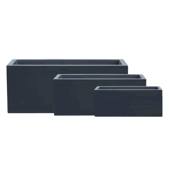 Black Solid Plant Box – Wide