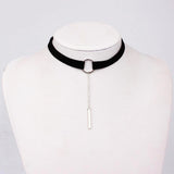 HOUBL 90'S Punk 4 Colors Leather Choker Necklace Gold Color Geometry with Round Pendant Collar Necklace