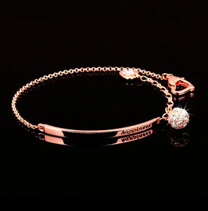 Rose gold color ball bracelet with cubic zirconia