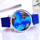 Cute Mickey watches with hollow dial different colors