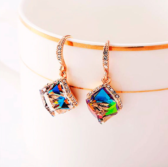 Colorful Cube Swarovski Crystal Earrings for Women Girls 14K Gold Plated Color Changing Drop Earrings