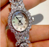 Amazing  jewelry silver 925 watches with exquisite white topaz and semiprecious stones