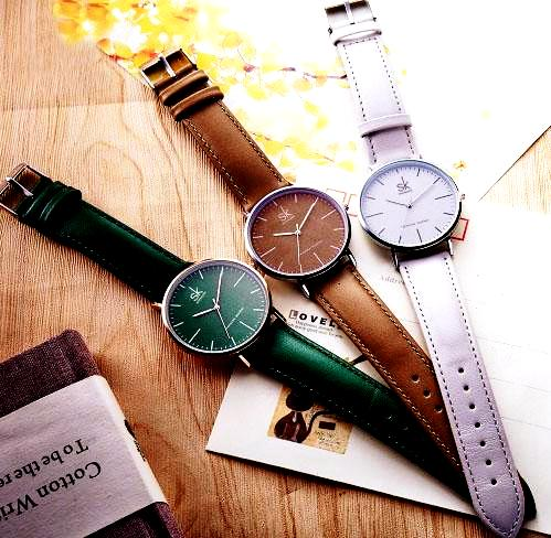 Casual luxury watches with leather dial and band Three colors