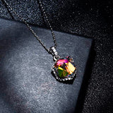 EVEVIC Color Changing Cubic Swarovski Crystal Pendant Necklaces for Women Girls 14K Gold Plated Jewelry