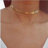 Gold double-layer chain choker necklace