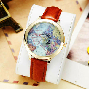 Cute 3d clay mini world map clock watches