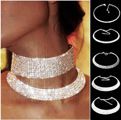 Habeats Bridal Wedding Prom Bridesmaid Jewelry Rhinestone Collar Choker Necklace