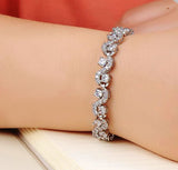Charming Dark Blue Crystal Women Tennis Bracelets with Cubic Zirconia Stone No 925 Sterling Silver Top Quality Jewelry DS931-in Charm Bracelets