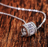 Silver cylinder with cubic zirconia necklace 925