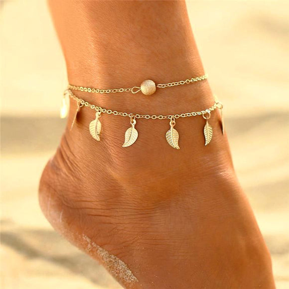 Double chains leaves anklet bracelet