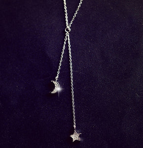 Star & moon tassels necklace with cubic zirconia 925
