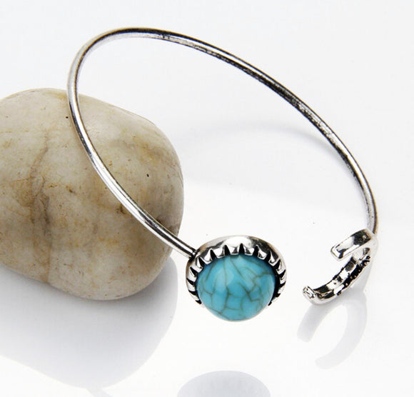 Blue sun moon open bracelet