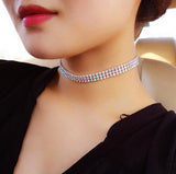 Gothic crystal choker necklace 4 pcs