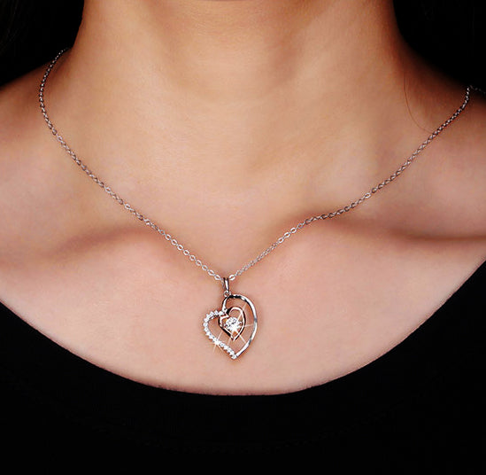 Genuine 925 Silver Double Heart Pendant Necklace with 0.3ct Crystal Rhodium Mixed Rose Gold Color Necklaces