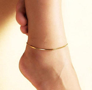 Golden chain anklet bracelet