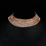 Aukmla Multi Layered Chain Crystal Rhinestone Choker Fully Diamond Statement Necklace