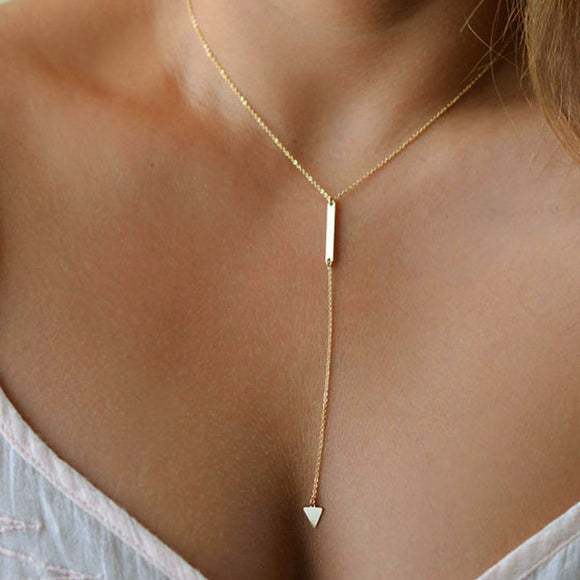 Simple Little Triangular Tassels Chian  Necklace