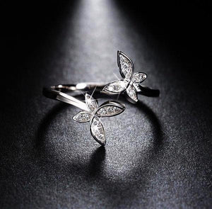 Butterfly design silver ring with austrian cubic zirconia 925