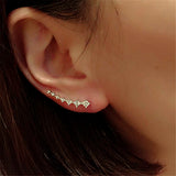 Line rhinestones zircon earrings