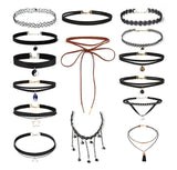 Black lace leather chokers set 15 pieces