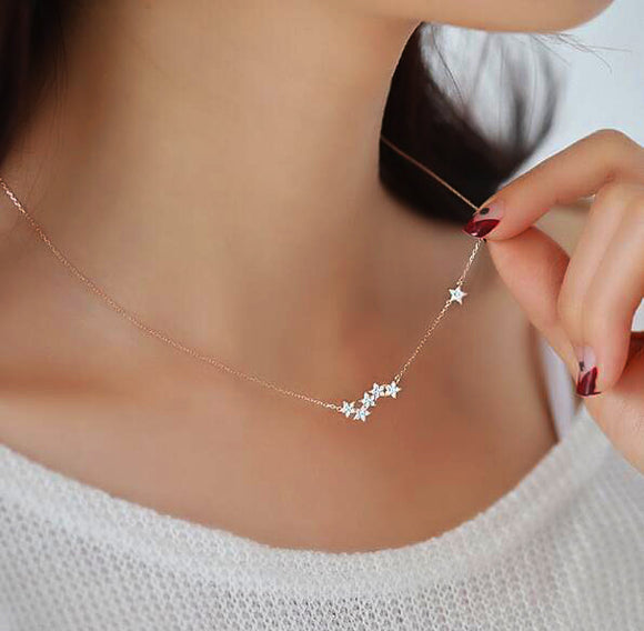 Crystal stars pendant necklace