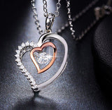 Double heart pendant with crystal rhodium mixed rose gold color necklace 925