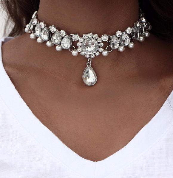 Moobpaa13 17KM Boho Collar Choker Water Drop Crystal Beads Choker