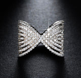Bow ring paved AAA austrian cubic zirconia