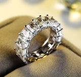 Beautiful ring  with one row 17 pcs shine AAA austrian cubic zirconia
