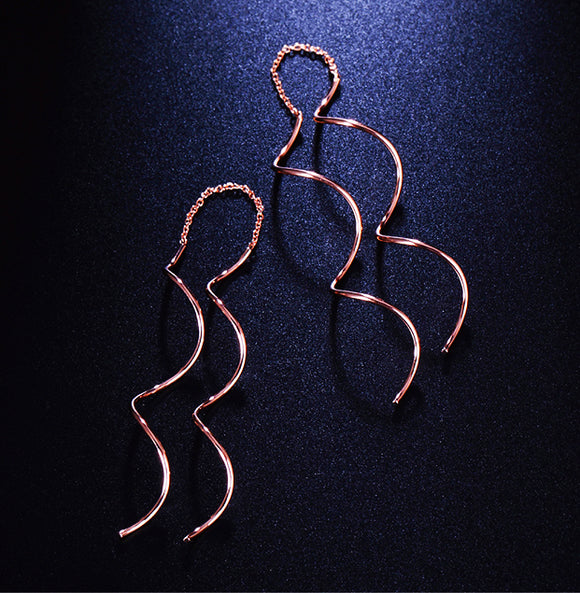 Simple Ear Line Spiral Drop Earrings Rose Gold Color Fashion Jewelry