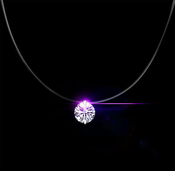 Dazzling zircon necklace  with invisible transparent fishing line