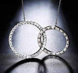 Double round long chain necklace with 36 pieces  austrian cubic zircon