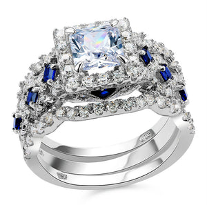 Silver wedding ring with white and blue crystals 925