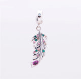 Angel wing's feather pendant with crystals necklace 925