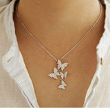 Long zircon butterfly necklace 925