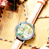 3d clay cute mini world golden retriever watches with rhinestones and leather strap