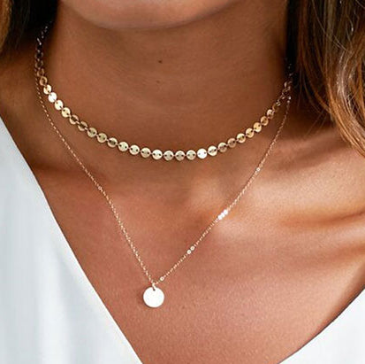 Coin  pendant Chain double layer Necklace