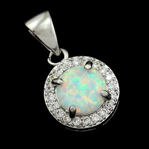 CUOKA MIRACLE Created Opal Pendant Necklace Sterling Silver Dainty Simple Necklace Opal Jewelry