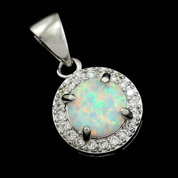 Natural stone white fire opal silver plated pendant necklace  925