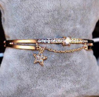 Rose gold star with crystals bracelet