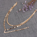 Haressu-Sexy Multilayer Sequins Crystal Rhinestone Tassel Pendants Chain Necklace Choker
